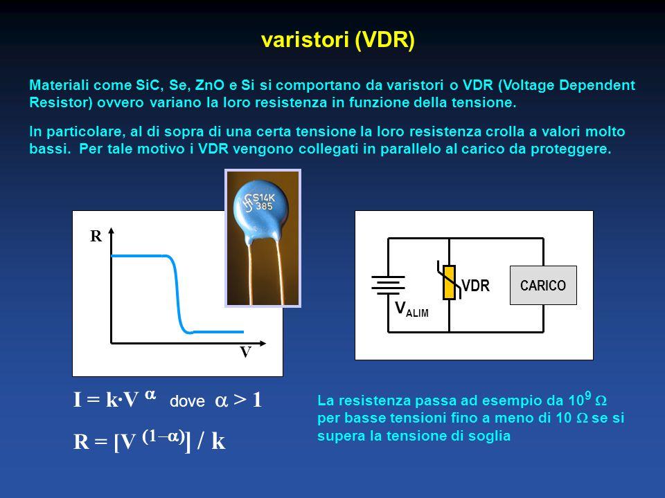 varistori (VDR) I = k·V a dove a > 1 R = [V (1-a)] / k R VDR VALIM